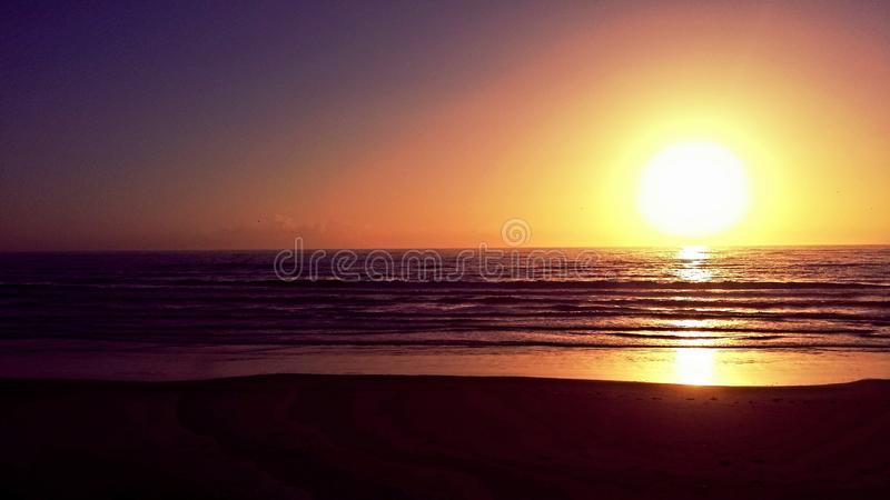 Por do sol da costa de Oregon fotos de stock royalty free