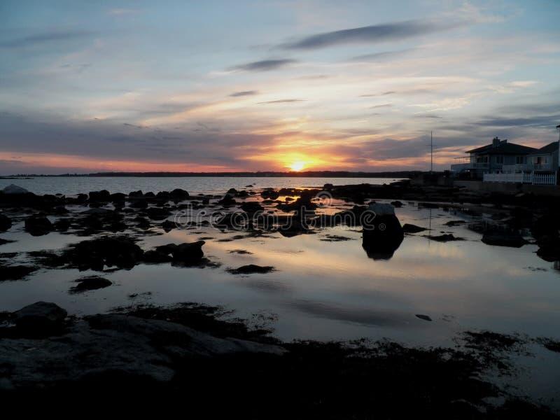 Por do sol da costa leste fotografia de stock