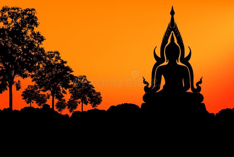 Por do sol da estátua da Buda ilustração stock
