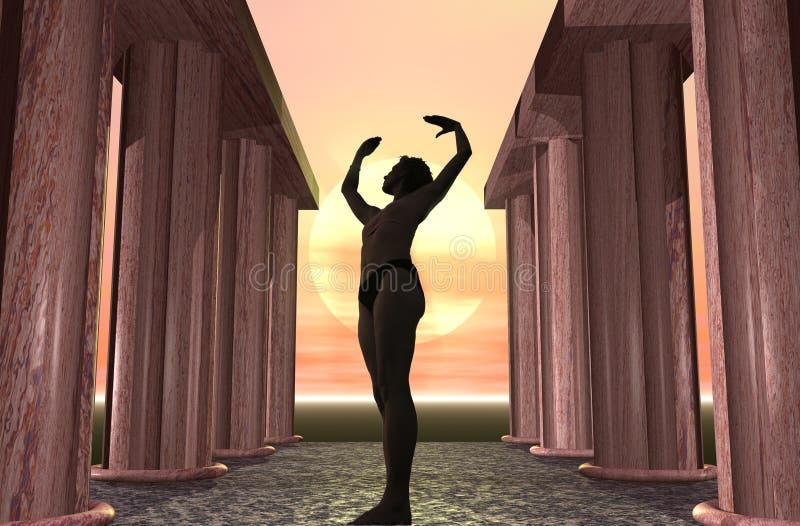 Por do sol da ioga ilustração royalty free