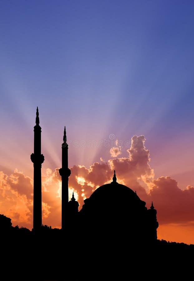 Por do sol da mesquita de Bosphorus fotografia de stock royalty free