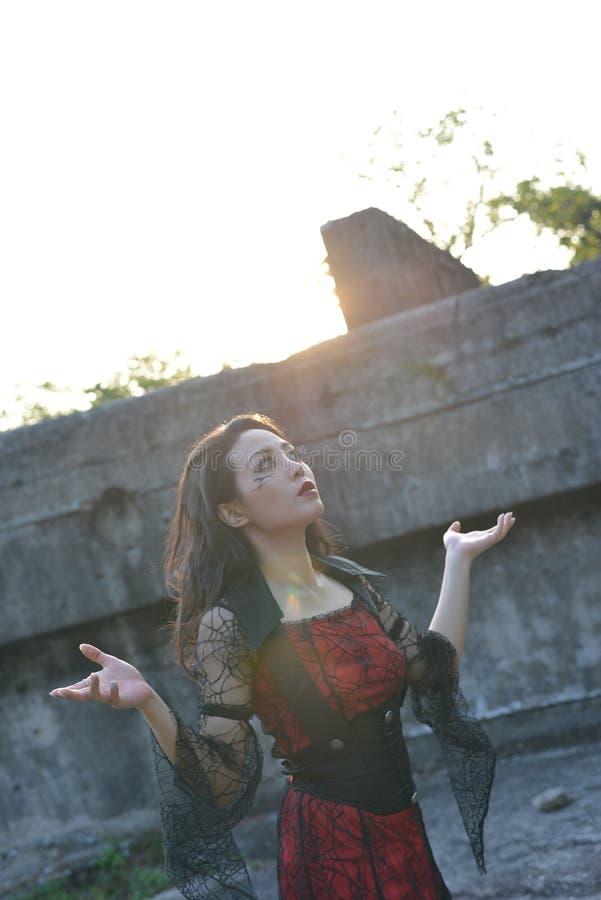 Por do sol da mulher da bruxa imagem de stock royalty free