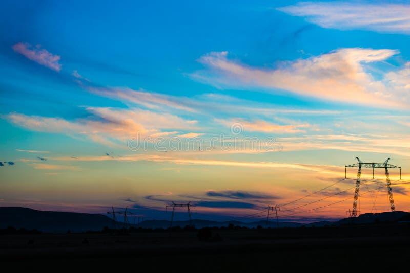 Por do sol da noite fotos de stock