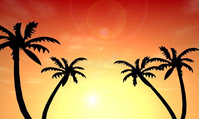 Por do sol da palma ilustração royalty free