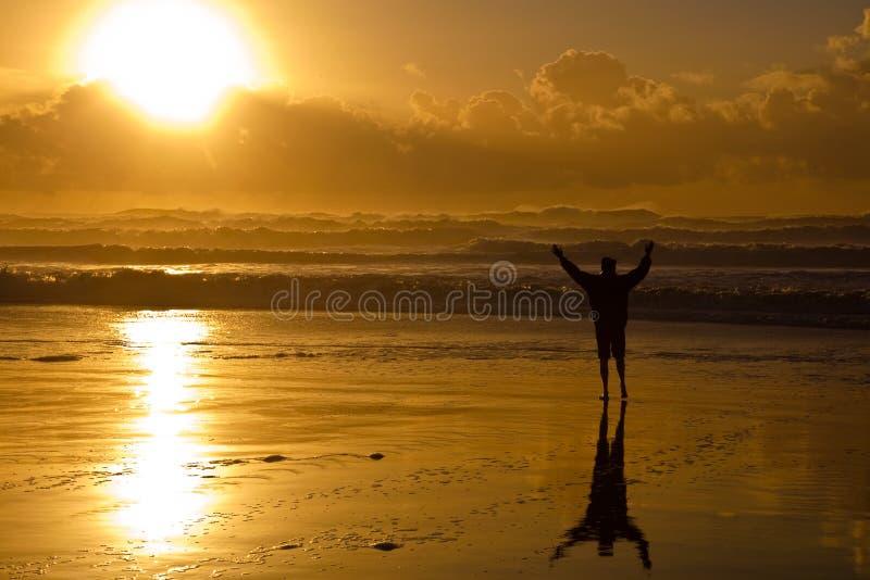 Por do sol da praia foto de stock