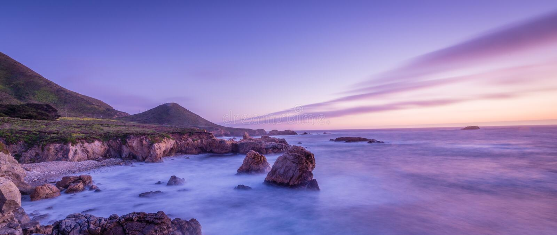 Por do sol da praia de Califórnia imagens de stock royalty free