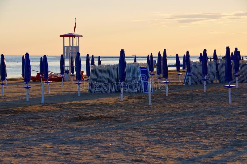 Por do sol da praia de Grado fotos de stock royalty free