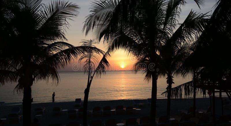 Por do sol da praia de México imagens de stock royalty free