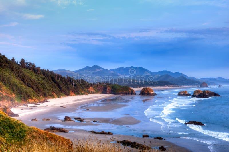 Por do sol da praia do canhão fotos de stock royalty free