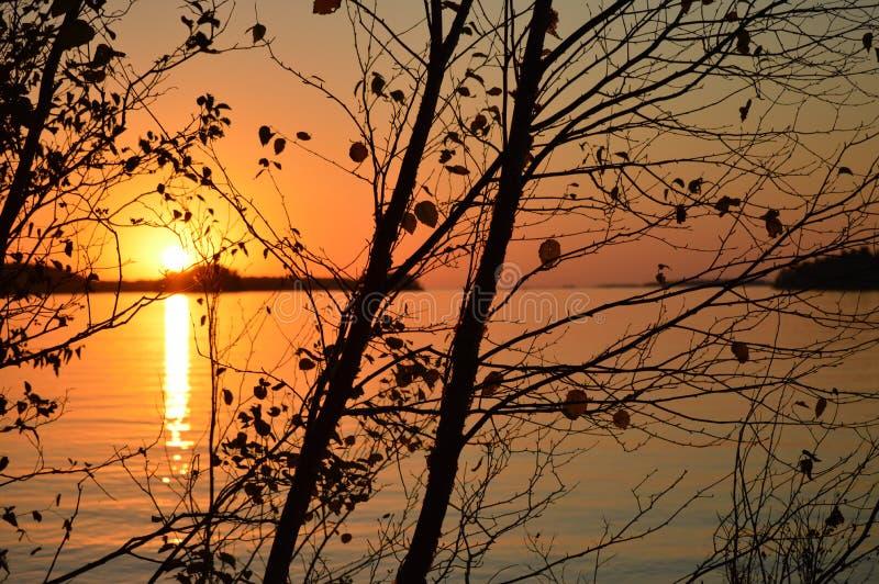 Por do sol da queda da baía Georgian fotos de stock royalty free