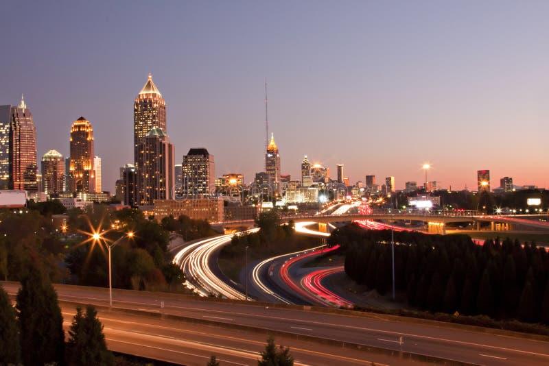 Por do sol da skyline de Atlanta imagem de stock royalty free
