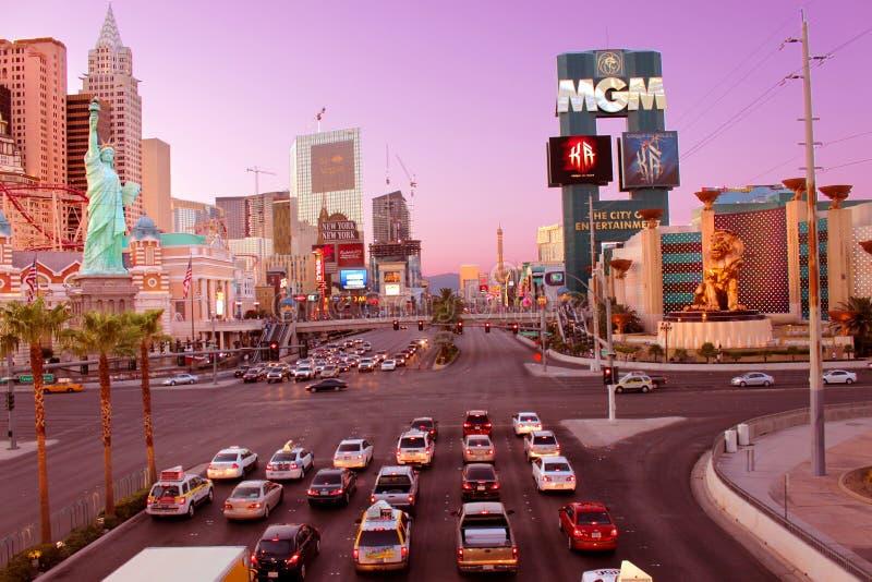 Por do sol da tira de Las Vegas imagem de stock
