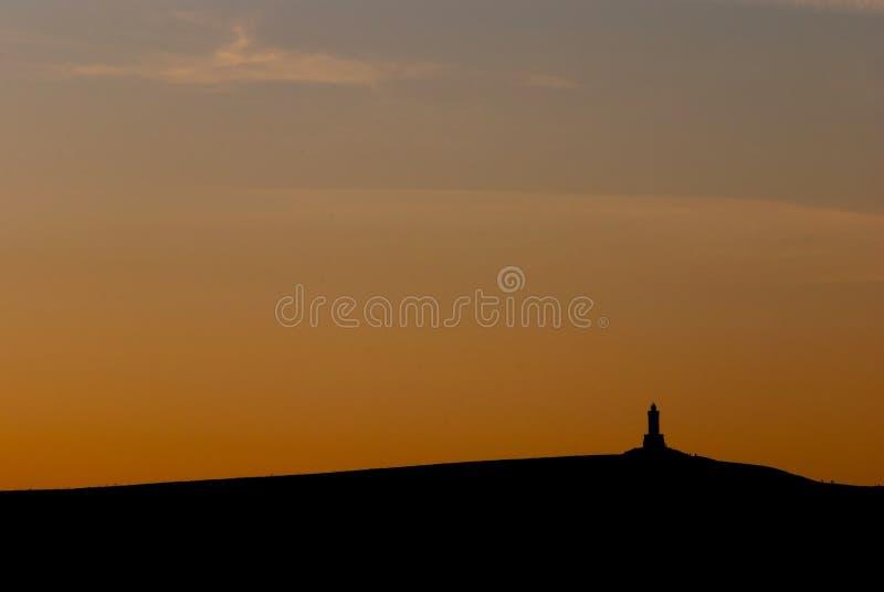 Por do sol da torre de Darwen imagem de stock royalty free