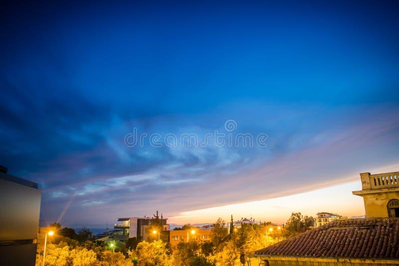 Por do sol de Atenas fotos de stock royalty free
