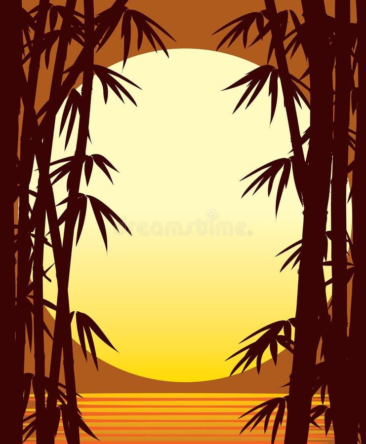 Por do sol de bambu ilustração royalty free