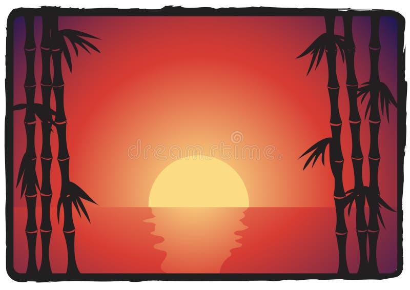 Por do sol de bambu asiático ilustração do vetor