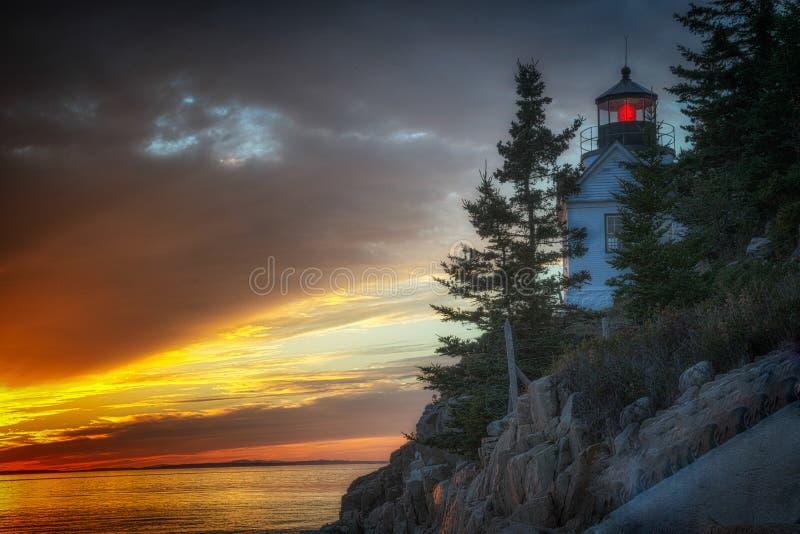 Por do sol de Bass Harbor Lighthouse foto de stock