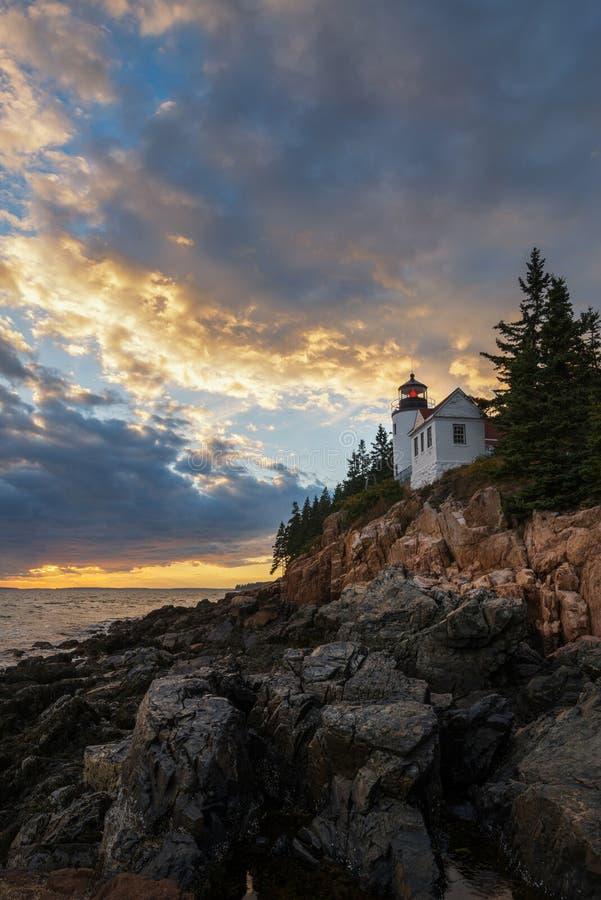 Por do sol de Bass Harbor Lighthouse fotos de stock