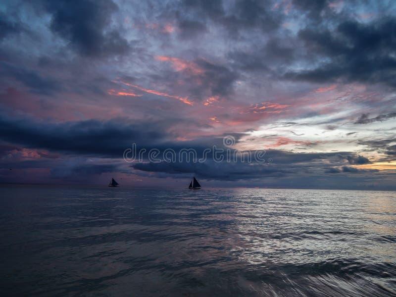 Por do sol de Boracay Filipinas fotos de stock royalty free