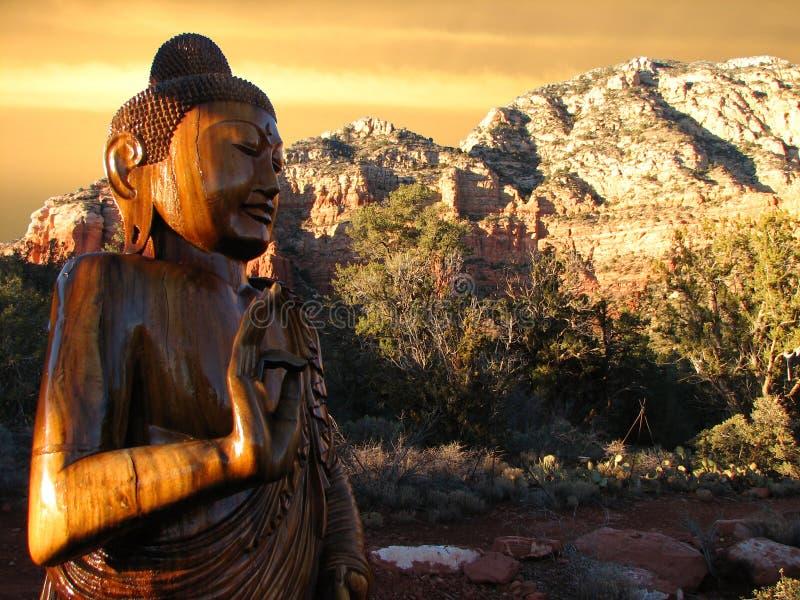 Por do sol de Buddha Sedona fotos de stock