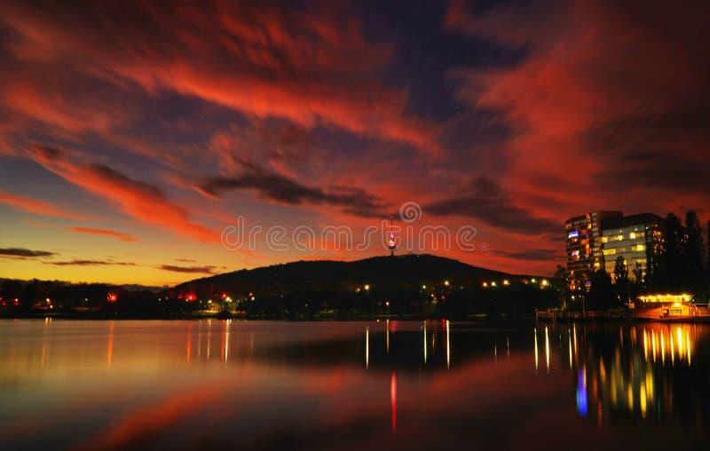 Por do sol de Canberra fotografia de stock