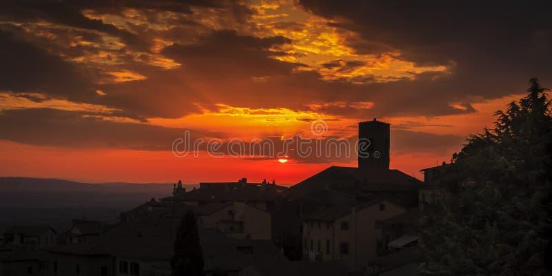 Por do sol de Cortona foto de stock royalty free
