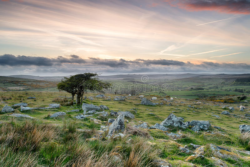 Por do sol de Dartmoor foto de stock