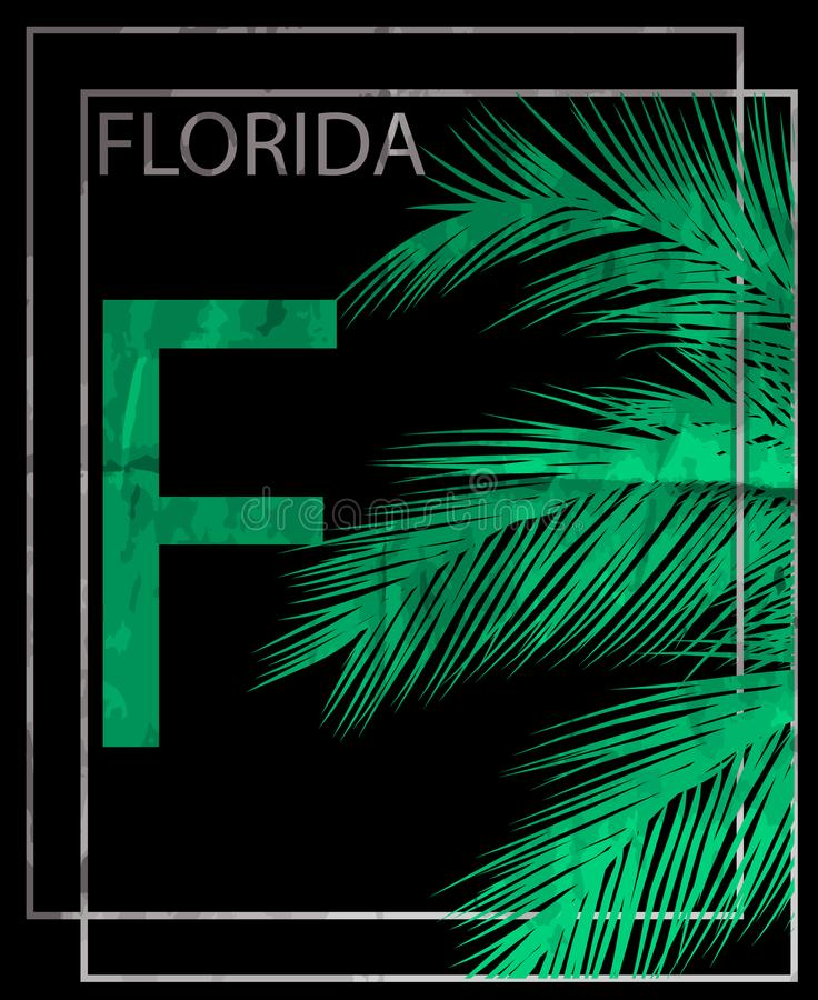 Por do sol de Florida na praia tropical ilustração do vetor
