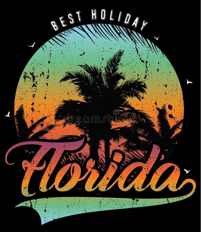 Por do sol de Florida na praia tropical ilustração royalty free