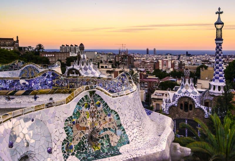Por do sol de Guell do parque imagem de stock royalty free