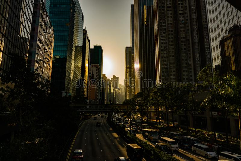 Por do sol de Hong Kong fotos de stock
