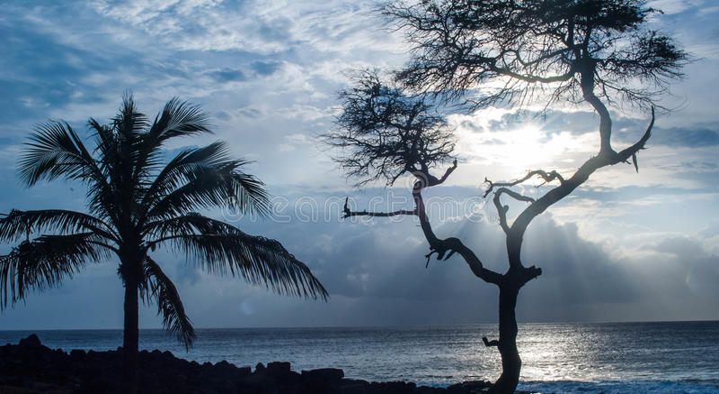 Por do sol de Kona fotos de stock royalty free