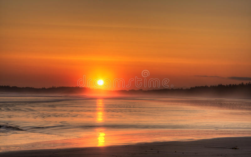 Por do sol de Long Beach fotos de stock royalty free