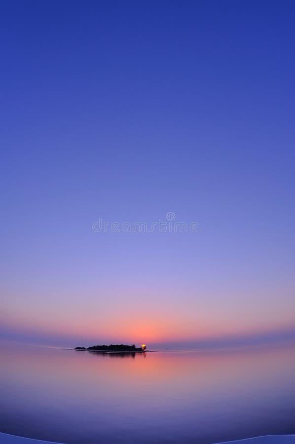 Por do sol de Maldivas fotografia de stock