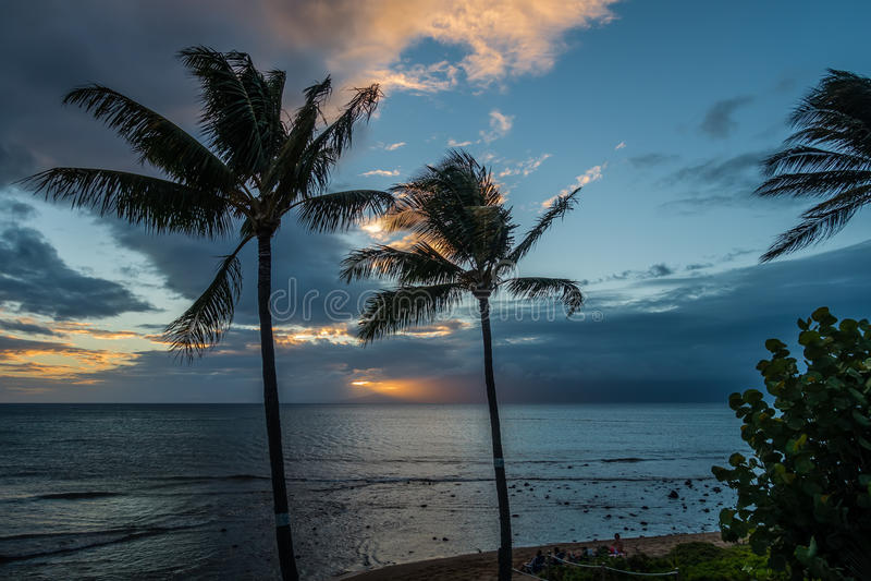 Por do sol de Maui sobre Molokai 5 imagens de stock royalty free