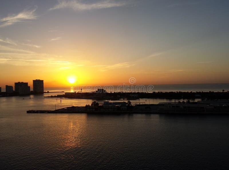 Por do sol de Miami foto de stock