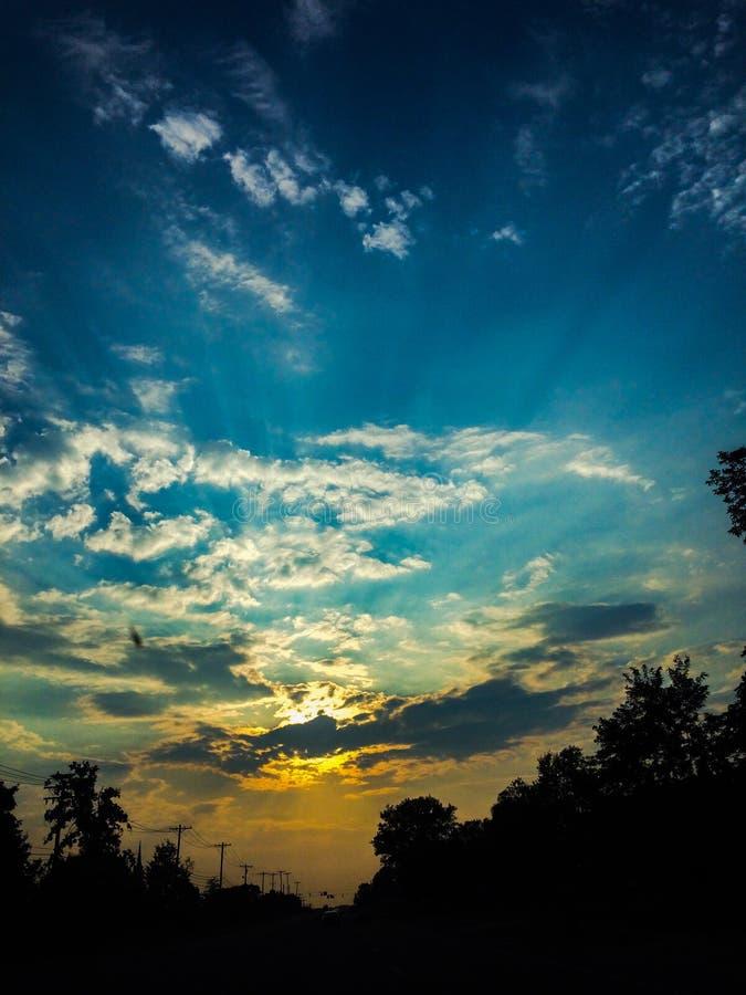 Por do sol de Midwest foto de stock