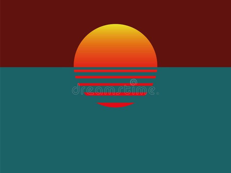 Por do sol de Minimalistic com oceano ilustração royalty free