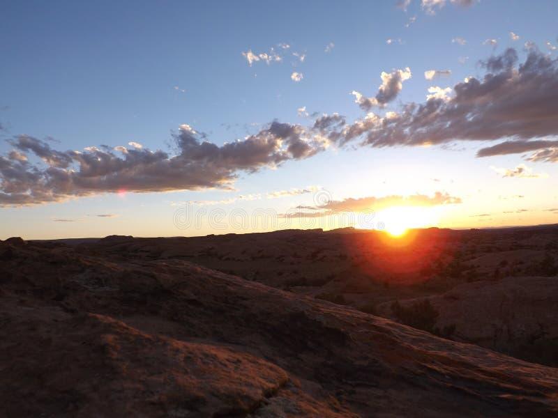Por do sol de Moab fotos de stock