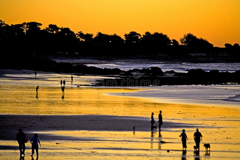 Por do sol de Monterey imagem de stock royalty free