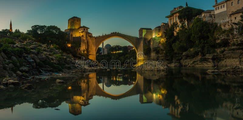 Por do sol de Mostar mim imagens de stock royalty free