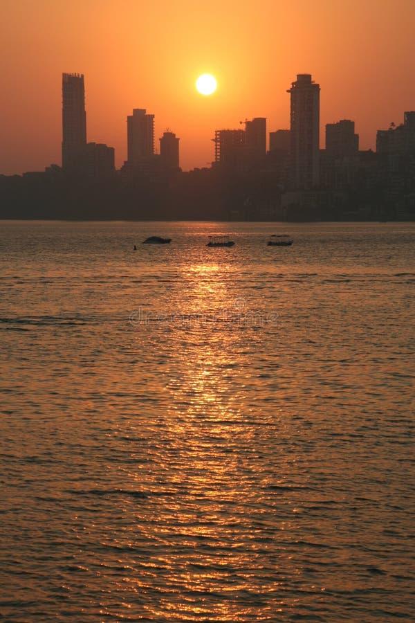 Por Do Sol De Mumbai Imagem de Stock