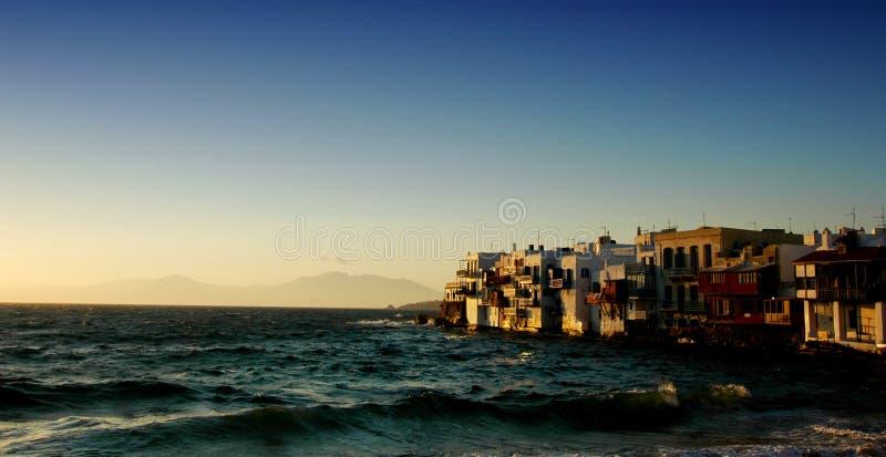 Por do sol de Mykonos fotos de stock