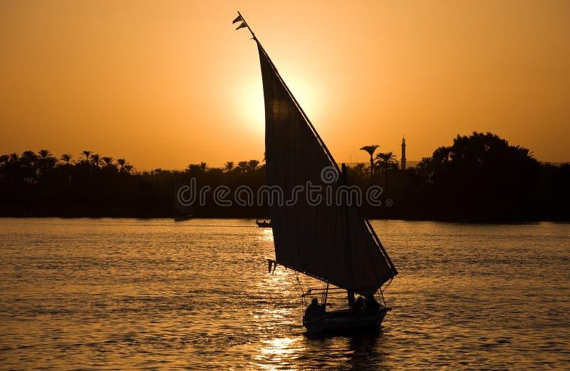 Por do sol de Nile foto de stock