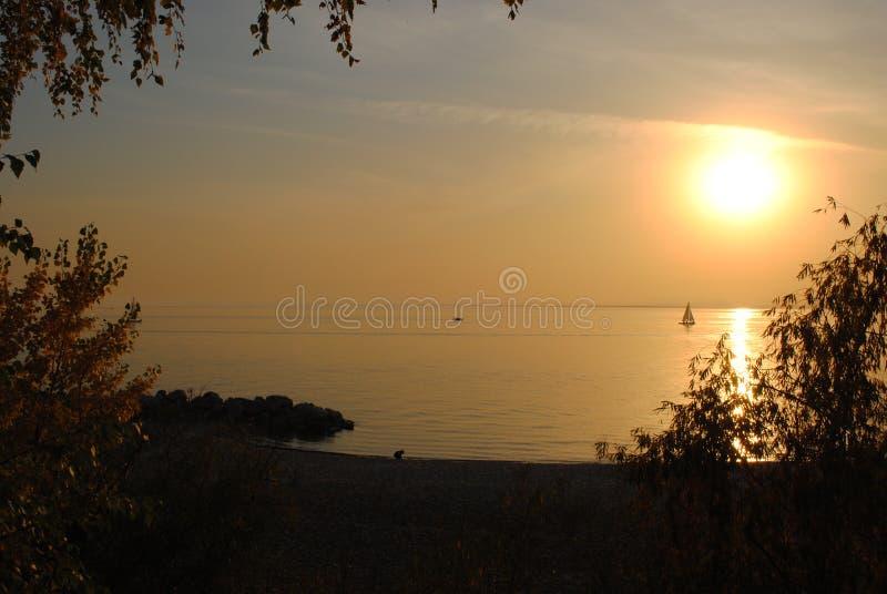 Por do sol de Novosibirsk fotos de stock