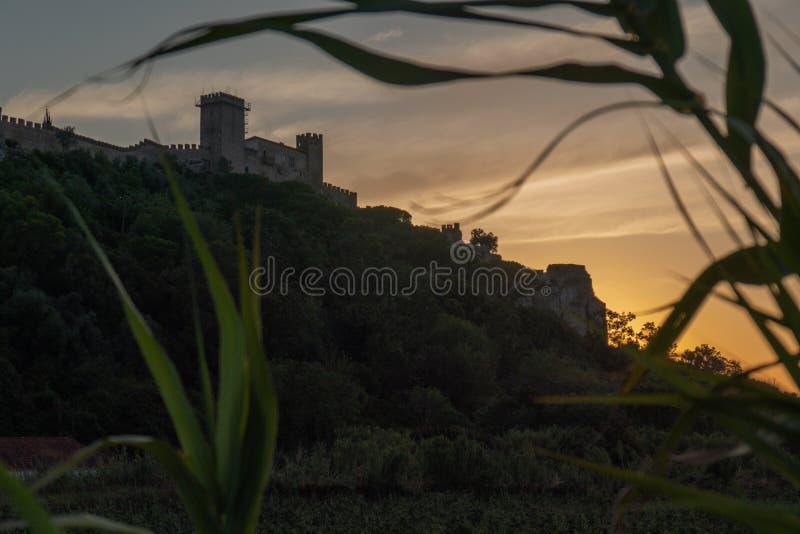 Por do sol de Obidos, Portugal fotos de stock