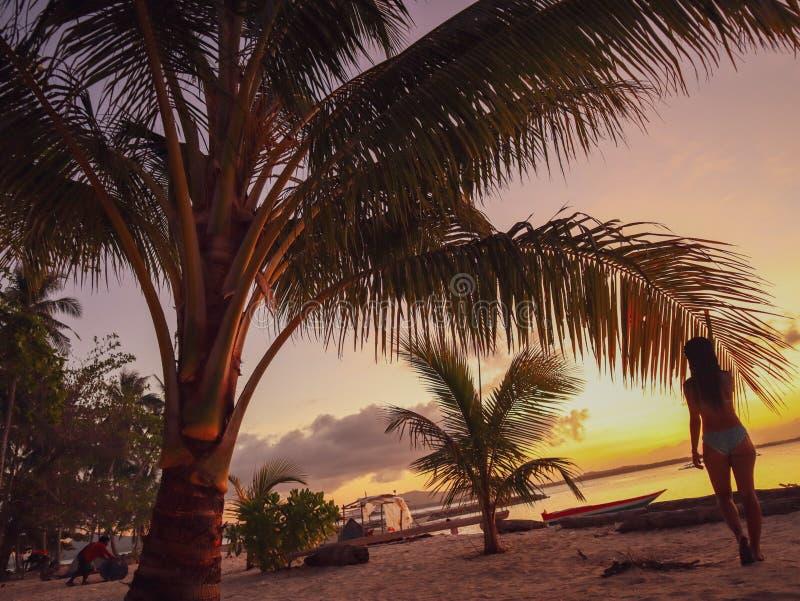 Por do sol de observação da mulher com as palmeiras na ilha de Candaraman em Balabac Filipinas foto de stock royalty free