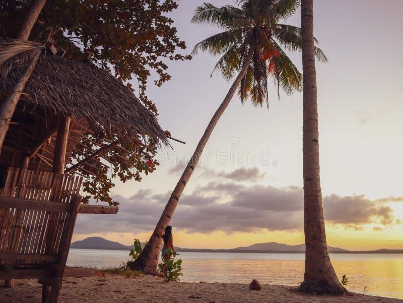 Por do sol de observação da mulher com as palmeiras na ilha de Candaraman em Balabac Filipinas foto de stock