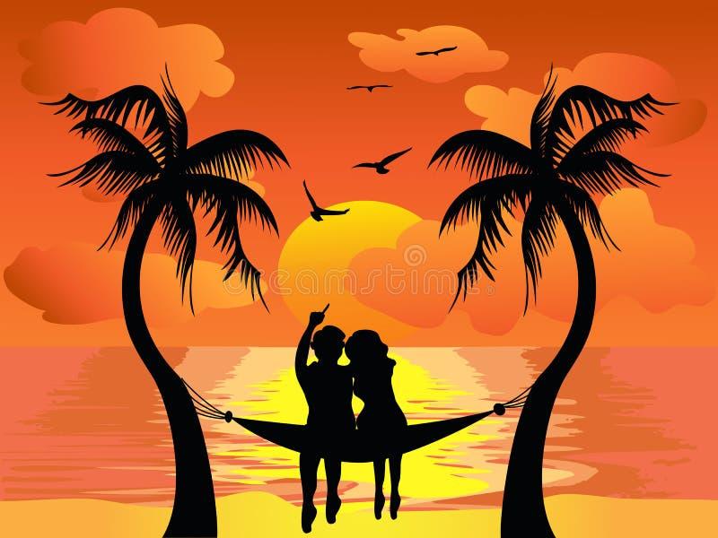 Por do sol de observação do amante ilustração do vetor