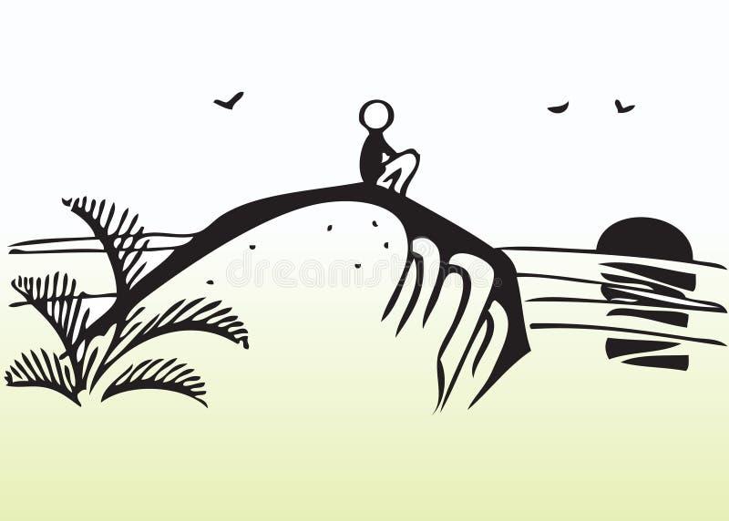 Por do sol de observação do homem dos desenhos animados ilustração stock